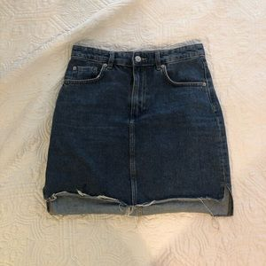 Denim cutoff skirt